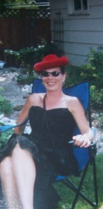 Louise on the day of Mad Hatters party in my back garden Canada