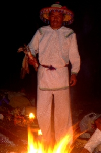 The shaman doing the fire blessing