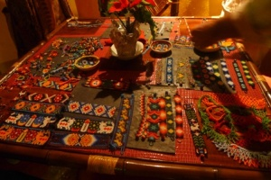 Table of goodies brought by the shaman that had been made in his village