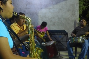 the band plays