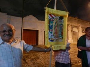 Jorge and the Guadalupe banner