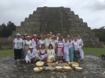 The group in front of the pyramid at Mayapan